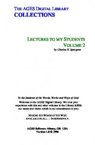 Spurgeon - Lectures To My Students Vol. 2