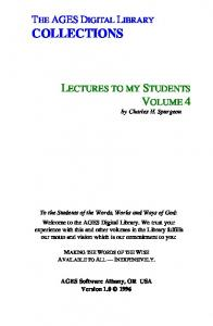Spurgeon - Lectures To My Students Vol. 4