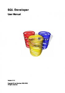 SQL Developer User Manual