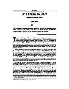 Sri Lankan Tourism Missed Opportunity?