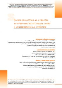 SSocial innovation aS a proceSS to overcome inStitutional ... - SciELO