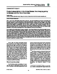 SSPP:Product stewardship in the United States: the