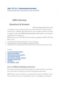 SSRS INTERVIEW QUESTIONS AND ANSWERS - Katie and Emil