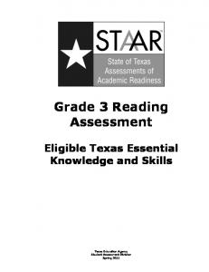 STAAR Grade 3 Reading Assessment - Texas Education Agency