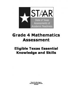 STAAR Grade 4 Mathematics Assessment - Texas Education Agency