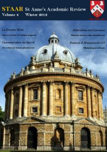 STAAR St Anne's Academic Review - St Anne's College Oxford, MCR