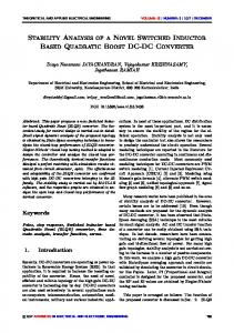 Stability Analysis of a Novel Switched Inductor Based Quadratic Boost ...