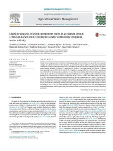 Stability analysis of yield component traits in 25 durum wheat (Triticum ...