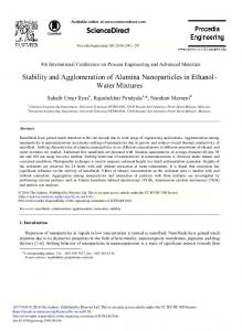 Stability and Agglomeration of Alumina Nanoparticles ... - ScienceDirect