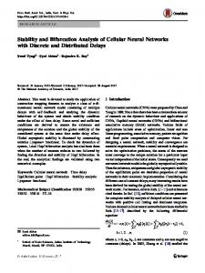 Stability and Bifurcation Analysis of Cellular Neural ... - Springer Link