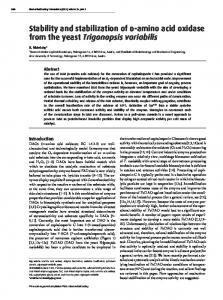 Stability and stabilization of d-amino acid oxidase ... - Semantic Scholar