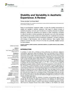 Stability and Variability in Aesthetic Experience: A