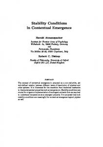 Stability Conditions in Contextual Emergence - CiteSeerX