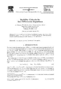 Stability Criteria for Set Differential Equations - ScienceDirect
