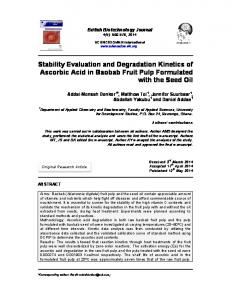 Stability Evaluation and Degradation Kinetics of Ascorbic Acid in ...