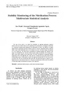 Stability Monitoring of the Nitrification Process: Multivariate Statistical ...
