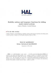 Stability notions and Lyapunov functions for sliding