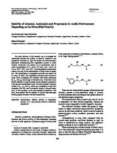 Stability of Atenolol, Acebutolol and Propranolol in ...