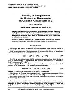 Stability of Completeness for Systems of Exponentials ... - Springer Link