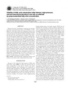 Stability of fatty acid composition after thermal, high pressure, and ...