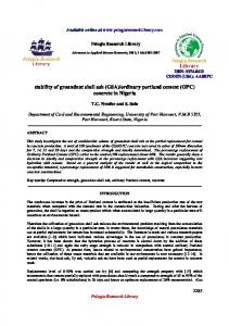 stability of groundnut shell ash (GSA)/ordinary portland cement (OPC ...
