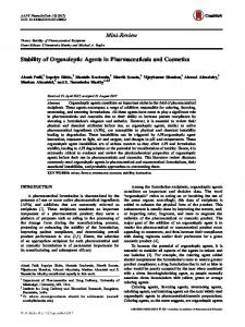 Stability of Organoleptic Agents in Pharmaceuticals ...