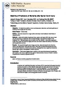 Stability of Predictors of Mortality after Spinal Cord Injury