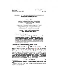 STABILITY OF SOLITARY-WAVE SOLUTIONS TO ...