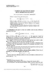 stability of solutions of linear delay differential equations - American ...