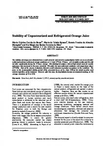Stability of Unpasteurized and Refrigerated