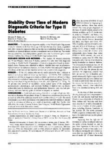 Stability Over Time of Modern Diagnostic Criteria for ... - Diabetes Care