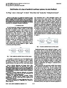 Stabilization of a Class of Sandwich Nonlinear Systems Via State ...