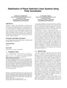 Stabilization of Planar Switched Linear Systems Using Polar ...