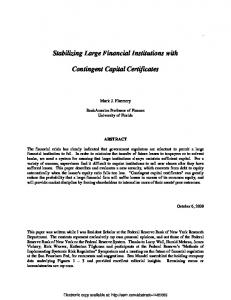 Stabilizing Large Financial Institutions with Contingent Capital ... - Unisi