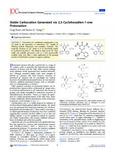 Stable Carbocation Generated via 2,5 ... - ACS Publications