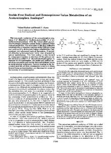 Stable Free Radical and Benzoquinone Imine Metabolites of an ...