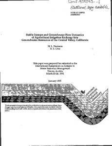 Stable isotope and groundwater flow dynamics of agricultural irrigation ...