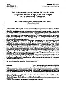 Stable Isotope Pharmacokinetic Studies Provide ...