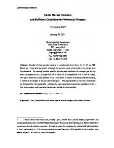 Stable Market Structure and Sufficient Conditions for