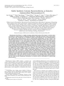 Stable Synthetic Cationic Bacteriochlorins as Selective Antimicrobial ...
