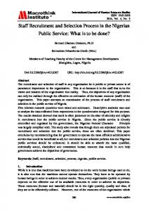 Staff Recruitment and Selection Process in the ... - Macrothink Institute