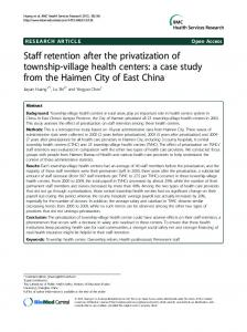 Staff retention after the privatization of township-village health centers ...