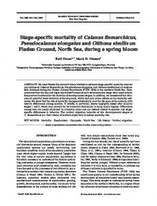 Stage-specific mortality of Calanus finmarchicus, Pseudocalanus