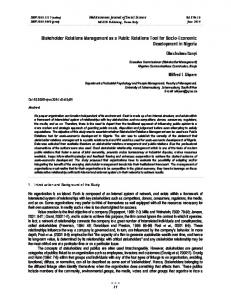 Stakeholder Relations Management as a Public Relations Tool for ...