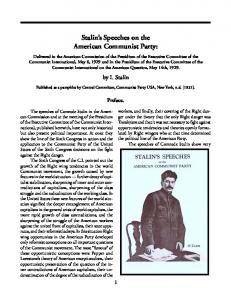 Stalin's Speeches on the American Communist Party: - Marxists ...