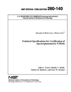 Standard Reference Materials Technical Specifications for ... - NIST