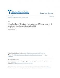 Standardized Testing, Learning, and Meritocracy: A Reply to Professor ...
