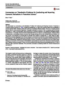 Standards of Evidence for Conducting and Reporting ... - Springer Link