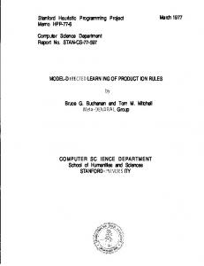 Stanford Heuristic Programming Project Memo HPP ... - Stanford InfoLab