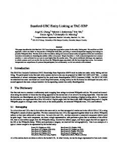 Stanford-UBC Entity Linking at TAC-KBP - Stanford NLP Group